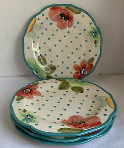 """Set Of 4 The Pioneer Womans 10"""" Dinner Plates Beautiful Quality Dinnerware Teal"""