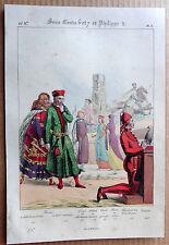 GRAVURE COULEUR 1834 DELAUNOIS COSTUMES PRINCES CHARLES LE BON TEMPLIER k901