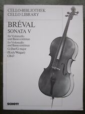 Breval Sonata No 5 in G for cello and piano *NEW*  Publisher Schott CB67