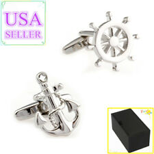 Wheel Helm Cuff Links With Gift Box Hot Sale Men Cufflinks Silver Anchor &