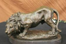 SIGNED BARYE WILD LION AFRICAN ANIMAL BRONZE SCULPTURE FIGURINE STATUE FIGURE