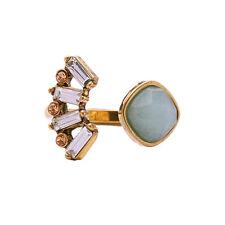 Aquamarina Open Ring  Pale Topaz Crystals Breezy + Fresh Design Antique Gold