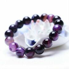 10mm Natural Purple Stripe Agate Onyx Gemstone Round Beads Stretchy Bracelet