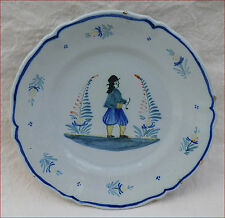 QUIMPER HR Henriot Breton Smoking Pipe French Faience Scalloped Plate