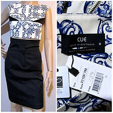& Tags Cue Size 8 Filigree Print Crop Top Exposed Zip