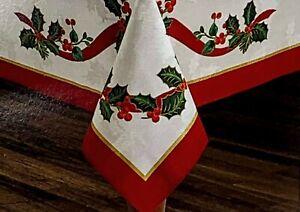 "Winter Wonderland Holiday Ribbon Fabric Oblong Tablecloth 60"" x 84"" Seats 6-8"