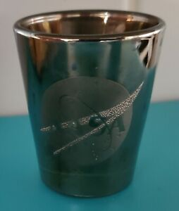 Shot glass NASA Kennedy Space Center chrome over glass Libbey