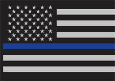 """Thin Blue Line Law Enforcement Flag Sticky Back Decal 3"""" x 4 1/4"""""""