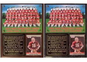 San Francisco 49ers 1984 Super Bowl XIX Champions Photo Card Plaque