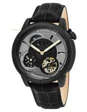 Stuhrling 686 03 Tesla Dual Time Open Heart Automatic Black Leather Mens Watch