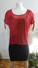 Guess blouse see throught red and printed gold lines size XL