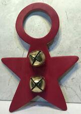 """Red Leather 8"""" Star Door Knob Hanger 2"""" Ornament Belsnickle 2 Bells Nos Pa Amish"""