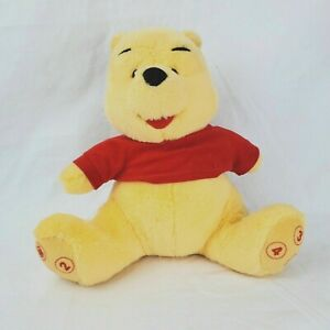 """10"""" stuffed plush TALKING WINNIE THE POOH with number phrases on Feet - Rare"""