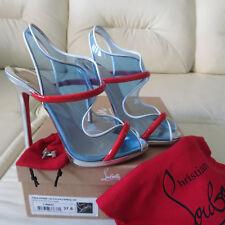 CHRISTIAN LOUBOUTIN Aqua Ronda 120 PVC Blue Red Platform Heels Sandals 37.5