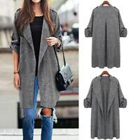 Womens Long Waterfall Coat Jacket Ladies Cardigan Overcoat Jumper Plus Size JCAU