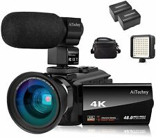 Video Camera 4K Camcorder Vlogging Camera for YouTube AiTechny Ultra HD 48MP Dig