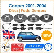 For BMW Mini One Cooper 1.6 2001-2006 Front & Rear Brake Discs + Pads + Sensors