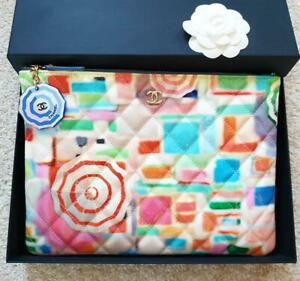 CHANEL Multicolor Pouch O - Case Clutch Bag Spring 2019 with Charm Very Rare NEW