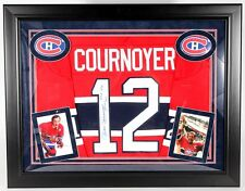 Yvan Cournoyer Signed Canadiens 28x36 Framed Jersey Display Inscribed HOF 1982
