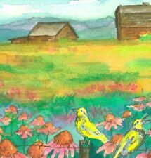 Meadowlarks Coneflowers Barns Original Watercolor Painting Country Landscape