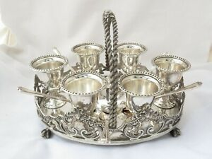 LARGE ORNATE VICTORIAN SILVER PLATED EGG CRUET / 6 EGG CUP STAND