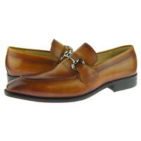 Carrucci Bit Loafer, Men's Slip-on Dress Leather Shoes, Cognac