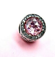 Authentic Pandora Silver 925 ALE  Radiant Hearts Charm Pink Bead 791725NBS
