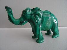 "Genuine Malachite Hand Carved African Congo Elephant Figurine 3.5"" Polished"