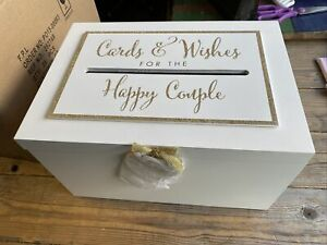 Wedding Cards & Wishes Post Box Venue Decor Solid Wooden White & Gold - 104