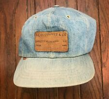 Vintage 70s Levis Orange Tab Leather Strapback Denim Trucker Hat Cap USA Jeans