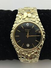 "Geneve Diamond 10K Solid Yellow Gold Watch Nugget Style 8"" Wrist Round Watch"