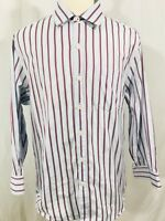 Tommy Bahama Mens Long Sleeve Button Front Shirt LARGE Blue Red Striped Cotton