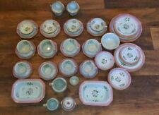 Set Calyx Ware Adams Lowestoft 61 Piece Cups Saucers Plate Red and Aqua Blue