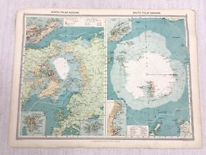1909 Antique Map of The North South Polar Region Arctic Antarctica George Philip
