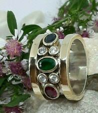 Aaa Quality 925 Silver Handmade Jewelry Blue Sapphire & Emerald & Ruby Band Ring