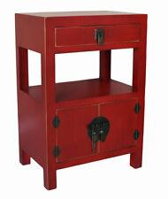 Chinois Armoire de Mariage Rouge Nuit Table Chevet Antique