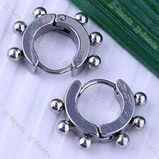 Stainless Steel Ball Bead Hoop Earrings Huggie Fashion