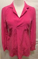 Lilly Pulitzer Blouse XS Pink Long Sleeve 100% Silk Pullover Collar