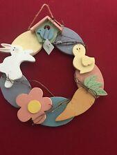 "Pretty Grapevine Easter Bunny & Eggs Door Wall Wreath 13"""