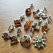 WHOLESALE JOB LOT 10 Baltic Amber & 925 Solid Sterling Sterling Silver PENDANTS