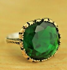 Turkish Emerald Ladies Ring 925 Sterling Silver Handmade Authentic Size 6-12