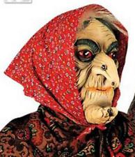 MASCHERA STREGA CON VELO ROSSO & Capelli Parrucca Vecchia Donna Halloween FANCY DRESS