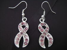 Silver Plated Pink Ribbon Pink Breast Cancer Awareness Crystals Charm Earrings