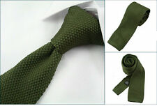 "Men 2"" Vintage Knitted Knit Slim Wedding Flat Tie Necktie Light Olive Green"
