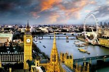 London Poster by the Thames by Reichold Big Ben House of Parliment, 24x36