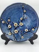World Market Pottery Cherry Blossom Blue dinner plate Japan Stoneware