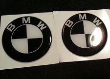 2 Adesivi Resinati Stickers 3D BMW nero bianco 70 mm