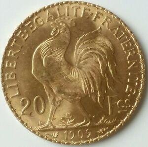 1909 France 20 Franc Gold Rooster