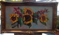 Helmuth Andreas Volkwein München Sonnenblumen Blumen Stillleben Oel Leinwand
