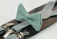 Sage Green Cotton Bow tie + Light Grey Elastic Suspenders Men Youth or Boy